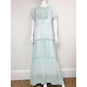 Johnny Was Flowing Trim Mint Crochet Maxi Dress